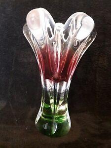 Buntglas Vase Blumenvase Dickes Glas  WEISS PINK GRÜN KLAR