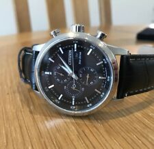 Citizen Eco Drive Watch With A Chronograph Face, Black Strap