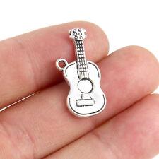 10pc Tibetan Silver Music Guitar Charm Pendant Fit DIY Bracelet/Necklace Craft