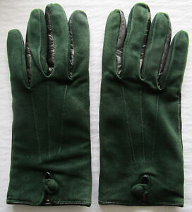 Doublure Italy Black Green Suede Leather Wool-Lined Button-trim Gloves Size 7