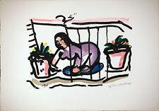 Luigi BARTOLINI - Il davanzale in fiore - 1962 litografia originale firmata B32