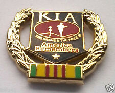 KIA AMERICA REMEMBERS W/WREATH VIETNAM Military Veteran Hat Pin P12220 EE