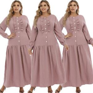 Dubai Abaya Muslim Women Maxi Dress Kaftan Jilbab Islamic Arab Robe Plus Size