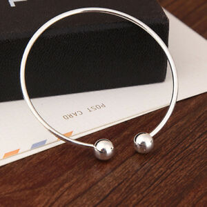 Classic Ball End Gold Silver Open Adjustable Bangle Bracelet Charm Gifts JJ