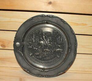 Vintage German hunting wall hanging pewter plate