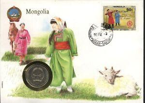 MONGOLIA, ENVELOPE SOUVENIR, AVEC MONNAIE
