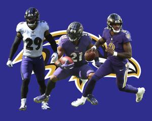Baltimore Ravens LAMAR JACKSON EARL THOMAS III MARK INGRAM Combo Photo 16X20 #1