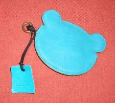 Urban Outfitters Bear Turquoise Blue Leather Coin Zippered Purse Pouch NEW