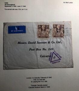 1940 London England Airmail Censored Cover To Calcutta India Sc#249