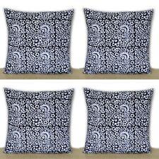16x16 Indian Hand Block Black Floral Print Home Decorative 4 Pcs Cushion Covers