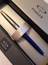 NEW PARKER GALAXY BLUE & STEEL GOLD TRIM BALLPOINT PEN-BLACK INK-GIFT BOX.