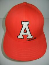 ADIDAS Bright Red Letterman Style BASEBALL HAT Athletic Track Gym Cap Sz SMALL