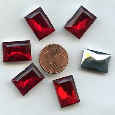 116 *** 6 CABOCHONS ANCIENS CRYSTAL FOND CONIQUE RECTANGLE 16X12mm ROUGE