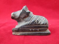Vintage Old Hand Carved Hindu God Shiva Ox Nandi  Black Stone Sculpture/Statue