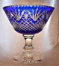 Webb Corbett Crystal Glass Layered Cut to Clear Cobalt Blue Pedestal Bowl