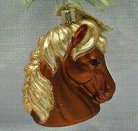 Old World Christmas Retired Horse Head Brown Collectible Blown Glass Ornament