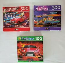 Lot of 3 PuzzleBug Puzzles Red speedy car, New&Old Cars, God Bless the USA car