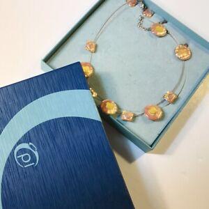 80s Pierre Lang Boxed Jewellery Set Necklace 2 Pairs Earrings Silver Enamel