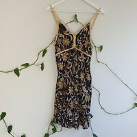 Vintage 90s Handmade Rayon A-line Cami Dress XS Black Gold Baroque Floral Print