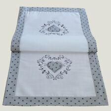 Tischläufer 40 x 90 cm Tischdecke kurz Tischdeko modern grau weiß Herz