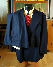 Vtg 1940s 2 Piece NavyBlue Herringbone Suit. Large-Xl