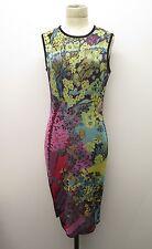 Mary Katrantzou Multicolor Metallic Floral Knit Wiggle Dress Sz S