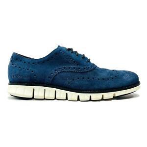 Cole Haan 2.ZeroGrand Plain Toe Oxford Shoes Size 9 (US) Blue Suede C31401