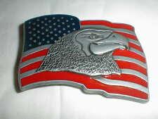 American Eagle & Flag Belt Buckle Vintage Enameled Pewter