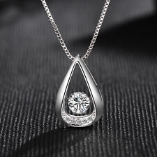 Water Drop Pendant 925 Sterling Silver Chain Necklace Womens Ladies Jewellery UK