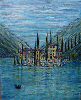 VIEW FROM THE VILLA Lake Como Italy canvas oil painting original signed Crowell