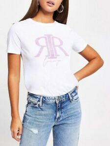 River Island Embossed Lounge T-Shirt - White Size 10
