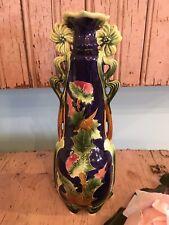 Lovely Antique French Majolica Vase Pink Thistle Shabby Garden Style #3