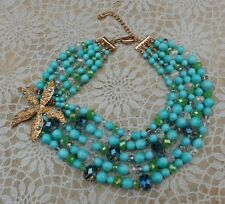 Large Blue Turquoise Necklace Stella Dot Ocean Star Fish Box Statement