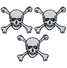 Skull and Crossbones Applique Patch (3-Pack, Small, Iron on)