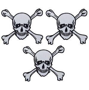 """Skull and Crossbones Applique Patch - Human Skeleton 1.5"""" (3-Pack, Iron on)"""