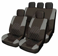 Hyundai i10 i20 GREY & BLACK Cloth Car Seat Cover Full Set Split Rear Seat