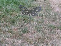 Beautiful Butterfly Garden yard art metal stake flower insect bug #4
