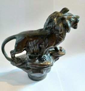 """Large Bronze Lion Car Mascot """"Made in England"""""""