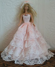 BARBIE SINDY DOLL DRESS BRIDE WEDDING GOWN, 5 LAYERS LACE, HAT, PINK, BEAUTIFUL