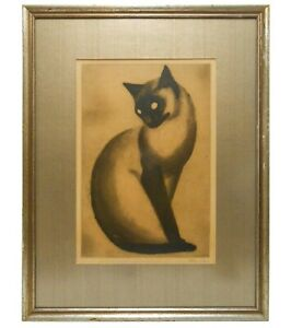 ALEX ORSI (FRANCE) MID-20TH C VINT SGND 'MOUSSY' SIAMESE CAT AQUATINT, ED 7/200