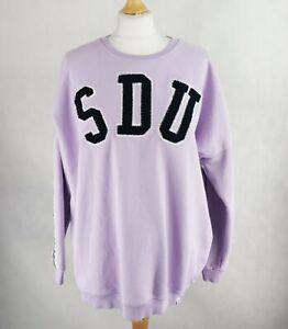 Womens SUPERDRY Oversized Sweatshirt SIZE UK 12 Lavender Purple Pullover Crew 40
