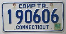 Connecticut 1977 CAMPING TRAILER License Plate HIGH QUALITY # 190606
