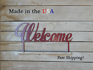 Welcome Metal Sign - Home Decor - Outdoor - Artwork - Lawn - Garden Stake, W1022