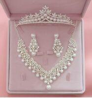White Pearl Leaf Crystal Wedding Bridal Jewelry Set Tiara Crown Earring Necklace