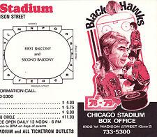 1978-79 CHICAGO BLACKHAWKS HOCKEY POCKET SCHEDULE - FOLDED IN HALF