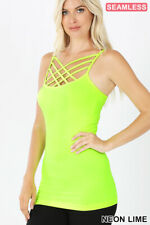 Zenana Caged Cami Tank Top Triple Criss Cross Seamless Stretch S/M - L/XL  *USA*