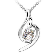 18K White Gold Plated Crystal Clear Made With Swarovski Pendant Charm Necklace