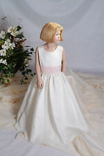 Flowergirl Dress Pageant by Jordan Sleeveless Satin Ivory w/ Ice Pink Size 6
