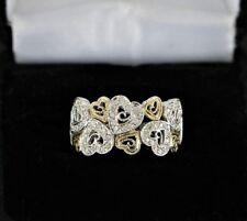 14K Yellow White Gold Round Diamond Heart Cocktail Ring Band Size 5.5