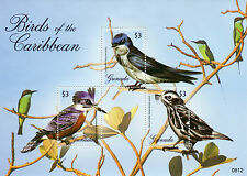 Grenada 2008 MNH Birds of Caribbean 3v M/S Kingfisher Swallow Warbler